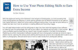 Earn Extra Cash With Your Photo Editing Skills
